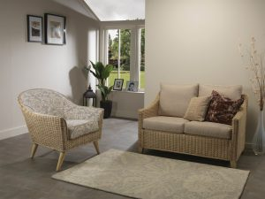 Dijon 2 Seater Sofa in Ivory & Henley Chair in Rose