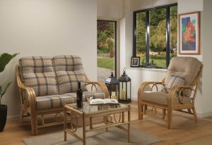 Madrid Light Oak 2 Seater Sofa in Highland & Chair in Sand