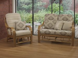 Madrid Light Oak 2 Seater Sofa in Roma Chair in Rydal