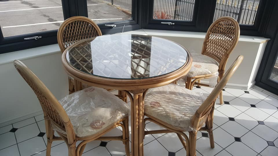 Bistro dining set with 4 chairs and premium grade fabric, was £890 now only £490! Available for immediate collection or we can arrange delivery